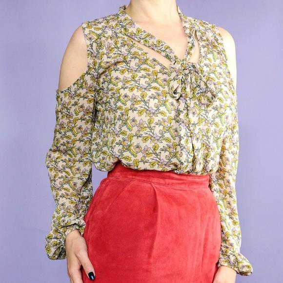 Xhilaration Tops - Floral Print Cold Shoulder Blouse